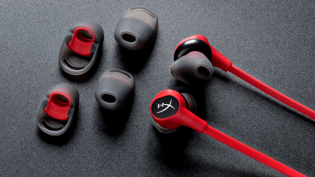 Close-up of the HyperX Cloud Earbuds, which can be considered on of the best gaming earbuds on the market.