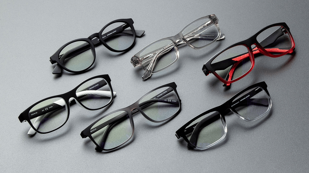 A grouped product photo of many different gaming glasses.