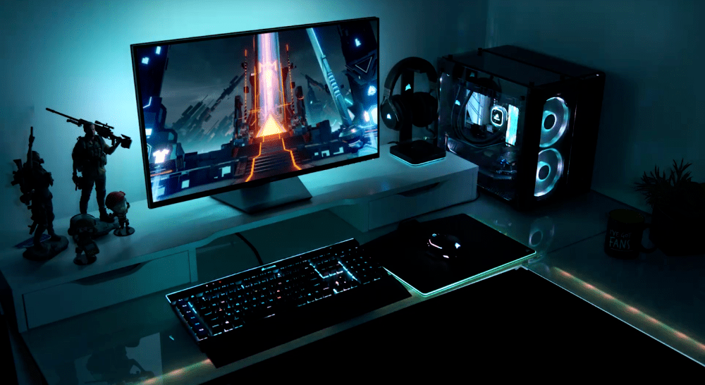 Overview image of a gaming set-up on Corsair's iCUE ecosystem, often referred to as one of the best RGB software suites.