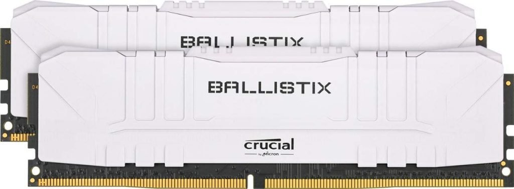 Two DIMM modules of the Crucial Ballistix DDR4 memory.