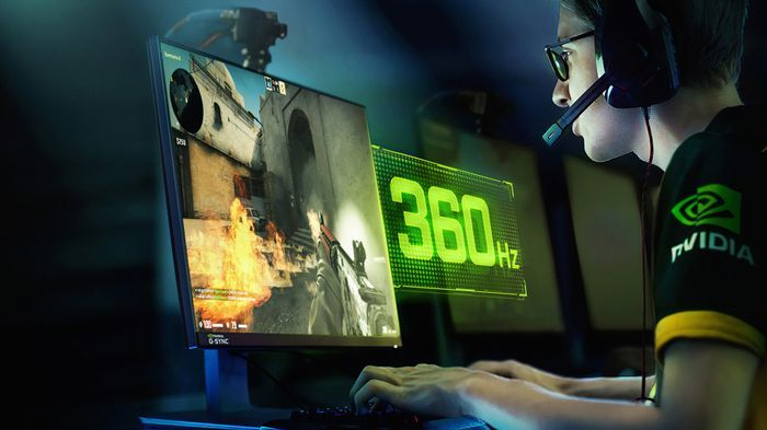 Promotional photograph showing a PC gamer using a 360 Hz gaming display with NVIDIA G-Sync.