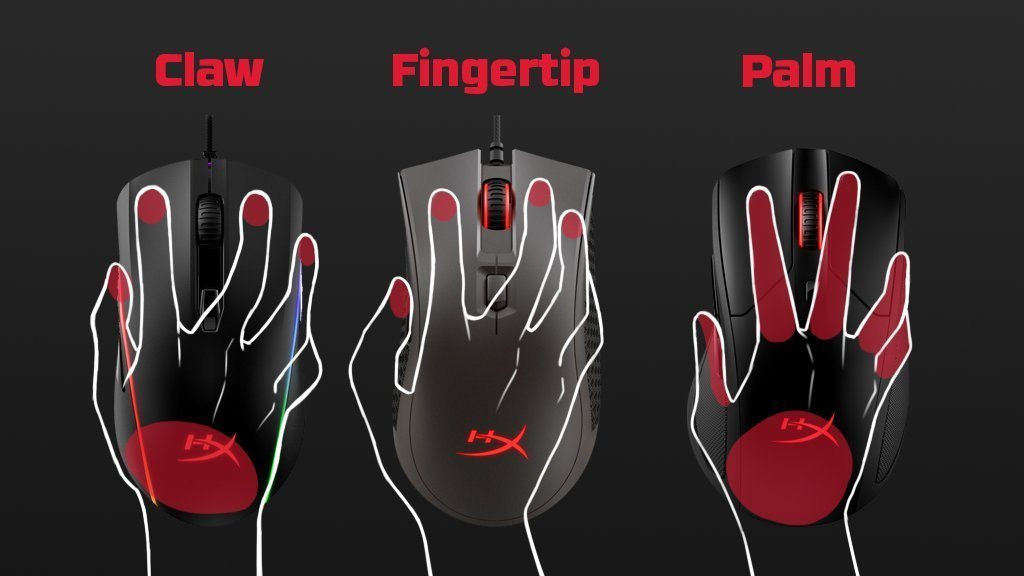 Reference image of three common mouse grip suegrip styles: claw, fingertip and palm.