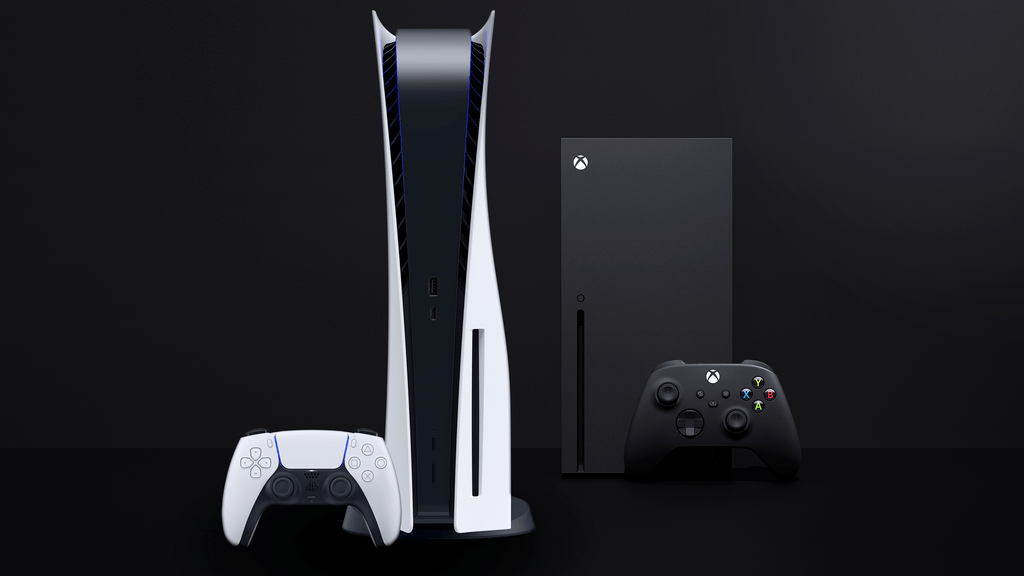 Compiled image of the Sony PlayStation 5 on the left, with the Xbox Series X on the right. Both are accompanied by their own controllers.