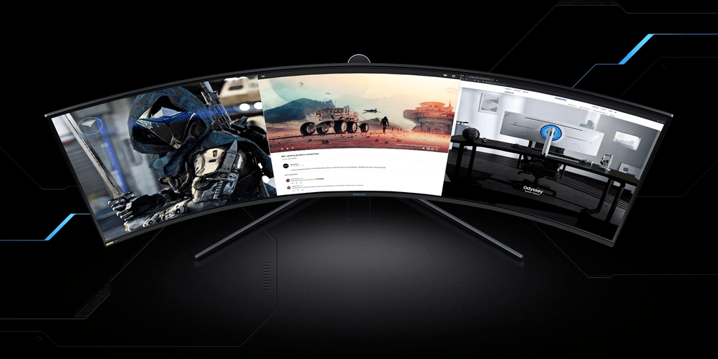 Promotional render of a 32:9 ultra-wide gaming monitor