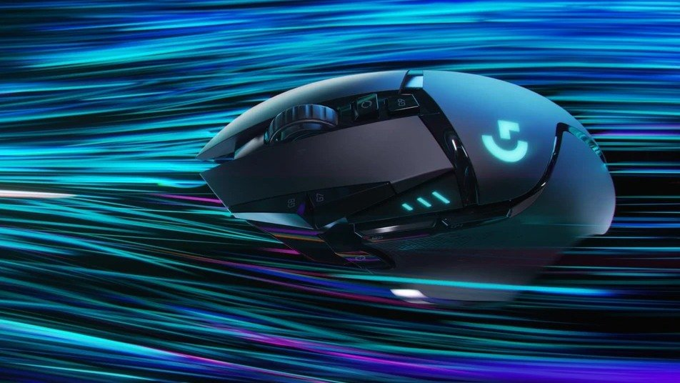 Stylized image of a wireless Logitech G gaming mouse.