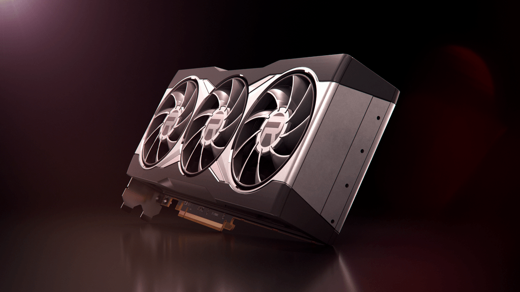 Promotional render of an AMD Radeon RX 6000 series graphics card.