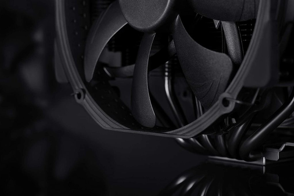 Close-up of the Noctua NH-D15 chromax.black, considered one of the best air-based CPU coolers on the market.
