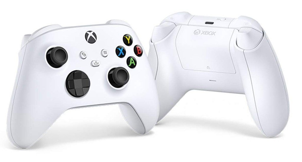 The Xbox Core controller in Robot White color, as seen from the front and back.