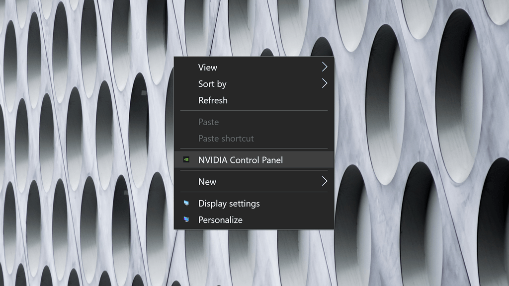 Screenshot of the NVIDIA Control Panel being highlighted in the drop-down menu from a Windows 10 desktop.