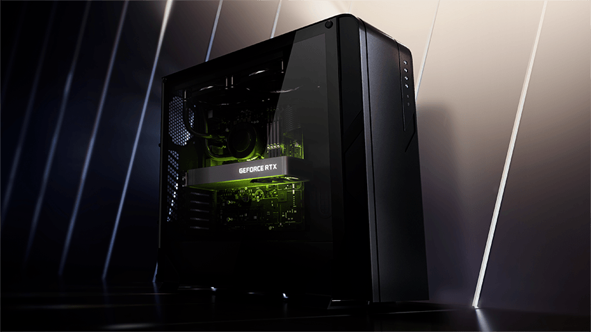 Promotional image of a GeForce RTX 3060 in a gaming PC, possibly a newer Lite Hash Rate revision of the card.