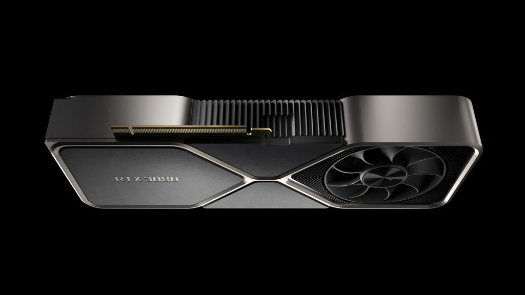 Promotional image of the NVIDIA GeForce RTX 3080 graphics card, possibly the Lite Hash Rate version.