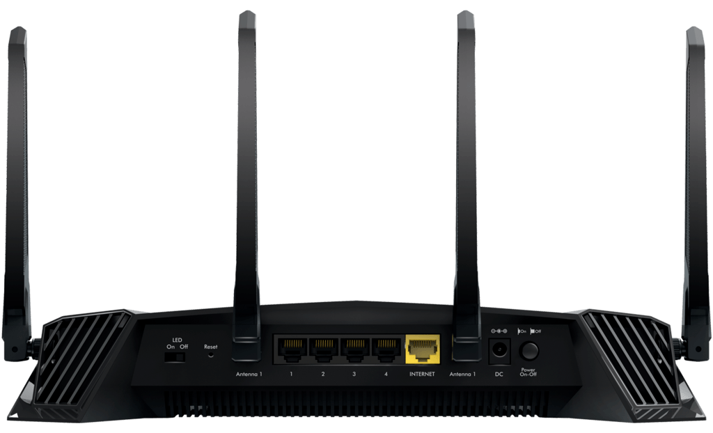 Some of the ports commonly found on the backside of gaming routers.
