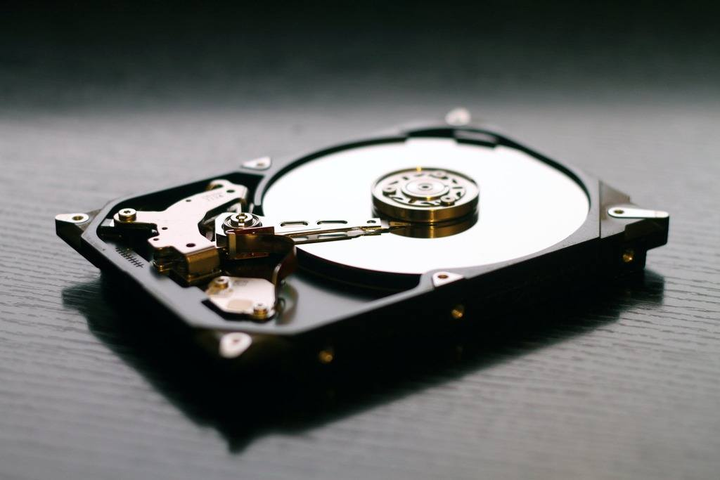 Side-view of a old hard disk, that could still be used today to mine proof of storage cryptocurrencies.