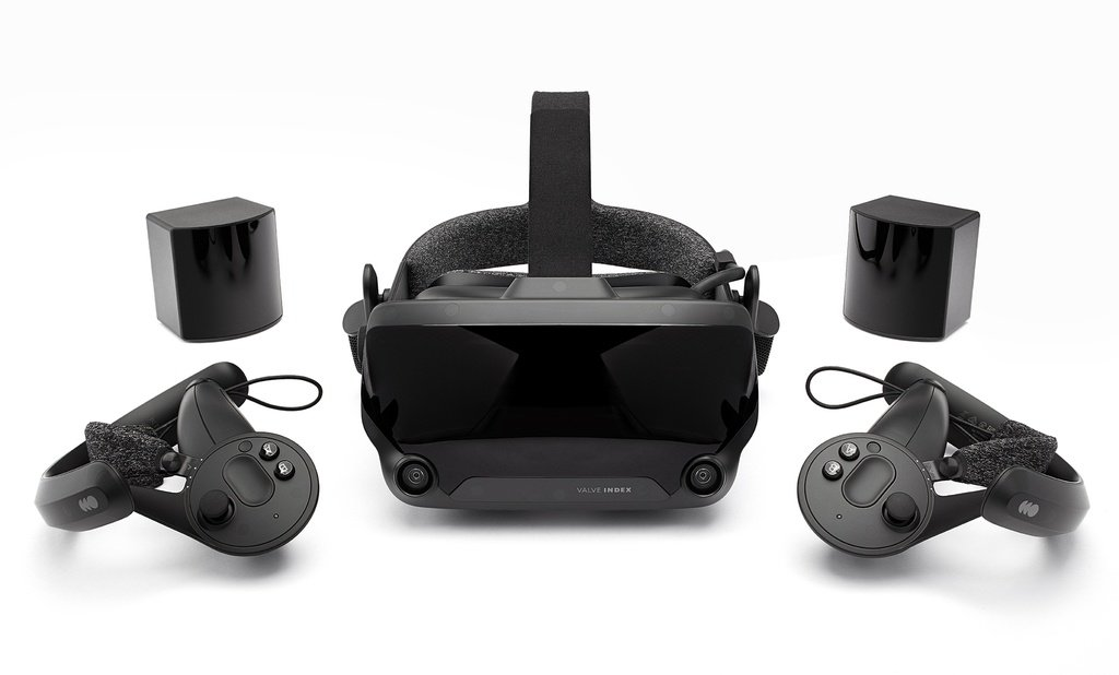"""One of the more """"out there"""" gaming peripherals: a VR set-up. In this case, it's the Valve Index head-mounted display (HMD) and its accompanying accessoires."""