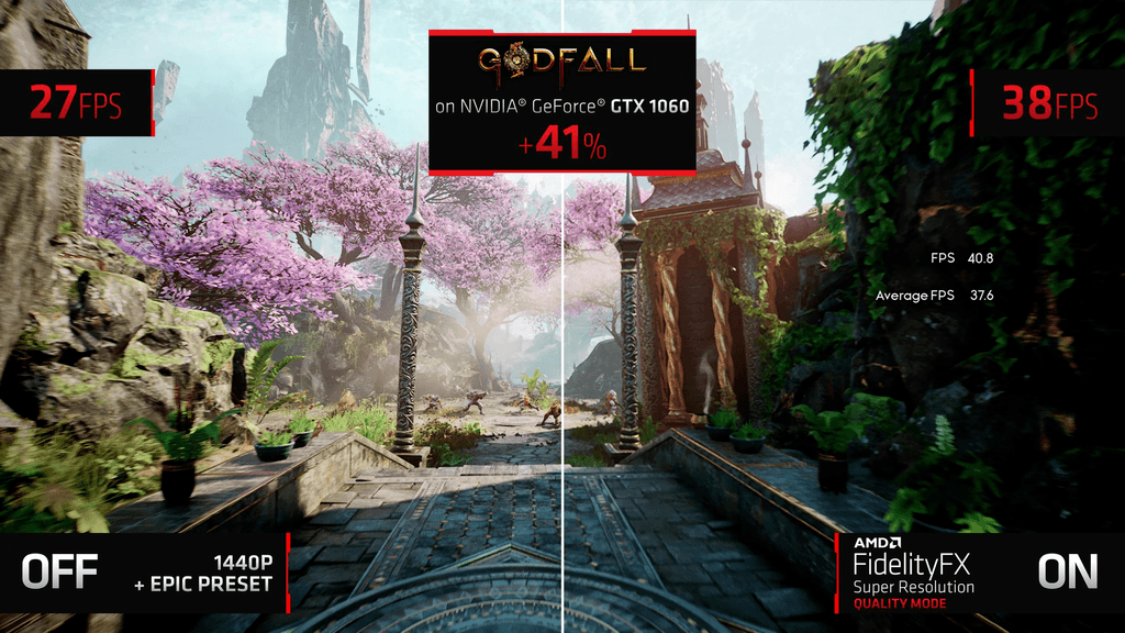 Side-by-side of a NVIDIA GeForce GTX 1060 running Godfall on 1440p, with and without the use of FidelityFX Super Resolution.