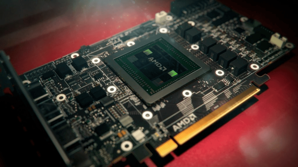 Close-up of an older AMD Radeon graphics card, with the cooling component taken off, fully exposing the underlying PCB.