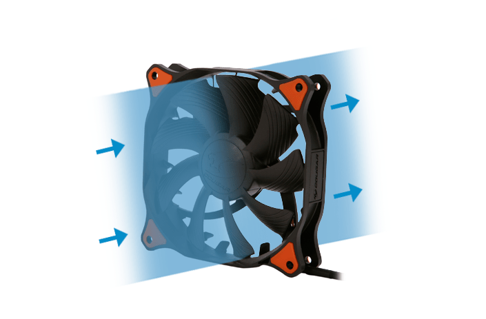 Illustration of common case fan orientation, with clear lines pointing in the direction of the airflow produced.
