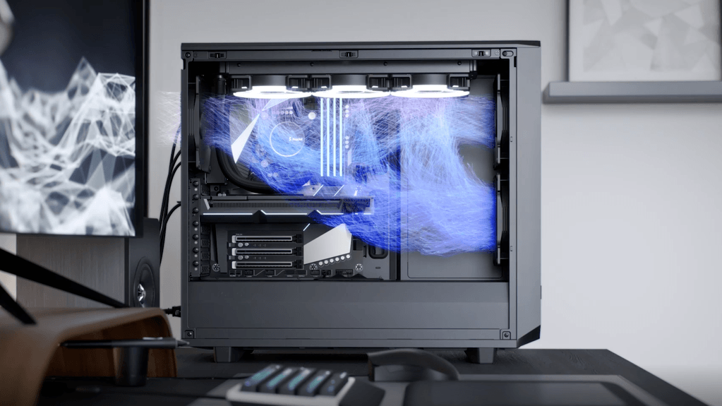 Stylized illustration of the airflow found in a PC case with a liquid AIO cooler. A suggested placement of the case fans and liquid cooling radiator is shown as well.