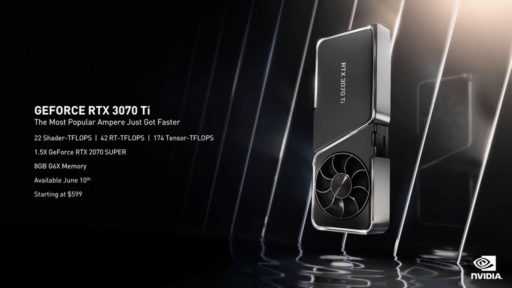 Specification sheet of the NVIDIA GeForce RTX 3070 Ti.