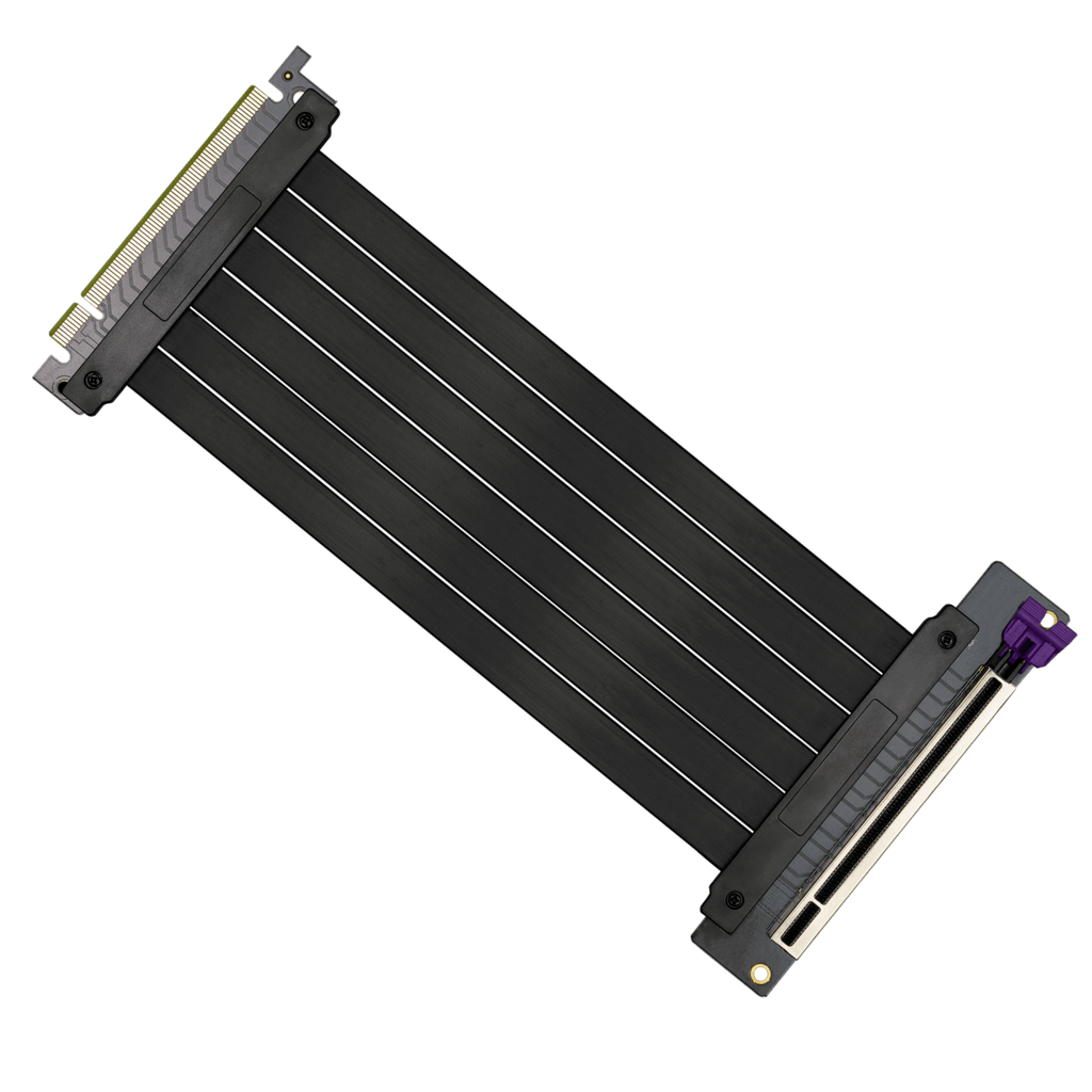 A top-down product photo of a PCIe riser cable from Cooler Master.
