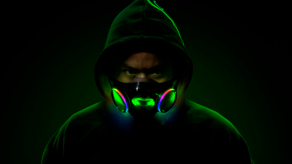 Promotional photograph of a person wearing the Razer Project Hazel mask, complete with RGB lights.